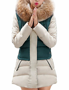 Women's Long Padded Coat Solid-Cotton Cotton Long Sleeve Hooded Blue / Red / Green
