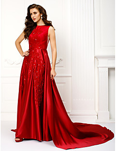 Formal Evening Dress A-line Jewel Chapel Train Satin