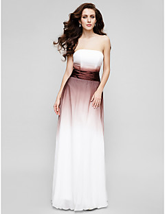 Formal Evening Dress - Multi-color A-line Strapless Floor-length Chiffon