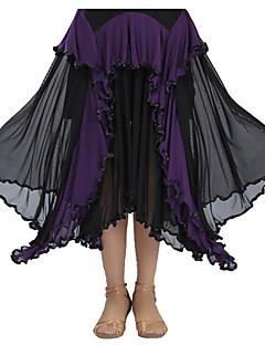 Ballroom Dance Tutus & Skirts Women's Performance Spandex Draped 1 Piece Black / Fuchsia / Purple / Red / Royal Blue Modern Dance Skirt