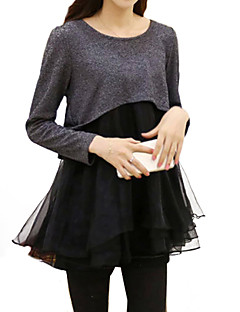 Women's Plus Size Casual Splicing Round Neck Long Sleeve Patchwork/Color Dress