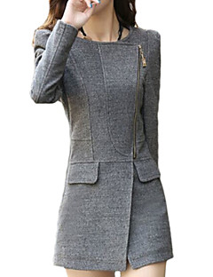 Women's Sexy Coat,Solid V Neck Long Sleeve Fall Black / Gray Wool / Cotton / Others Thick
