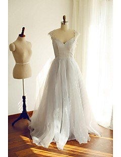 Formal Evening Dress - Silver A-line Scoop Floor-length Organza / Satin