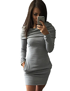 Women's Solid Red / Black / Gray Slim Dress , Casual Hooded Long Sleeve