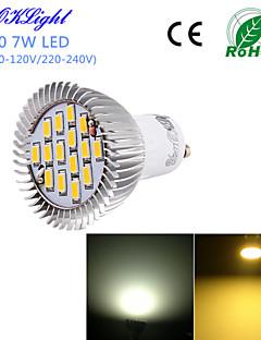 Spot LED Décorative Blanc Chaud / Blanc Froid YouOKLight 1 pièce G50 GU10 7W 15 SMD 5630 600 LM AC 100-240 / AC 110-130 V
