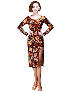 Latin Dance Dresses Women's Performance Velvet Pattern/Print 1 Piece