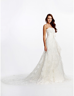 A-line Wedding Dress - Ivory Cathedral Train Strapless Lace