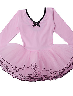 Balé Vestidos Crianças Actuação Algodão Tule Dobras em Cascata 1 Peça Manga Comprida Vestidos M:44