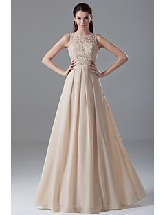 Formal Evening Dress - Champagne A-line Jewel Floor-length Chiffon / Lace