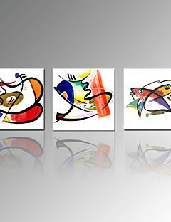 Abstrait / Animal / Loisir / Célèbre / Paysage / Moderne / Romantique / Voyage Toile Trois Panneaux Prêt à accrocher , Carré