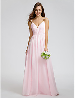 Knee-length Chiffon Bridesmaid Dress - Blushing Pink A-line Spaghetti Straps