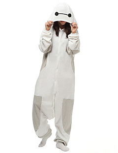 Kigurumi Pajamas Cartoon Leotard/Onesie Halloween Animal Sleepwear White Solid Polar Fleece Kigurumi Unisex Halloween