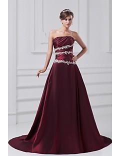 Formal Evening Dress - Grape A-line Strapless Court Train Taffeta