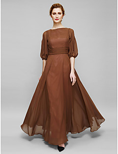 Sheath / Column Bateau Neck Ankle Length Chiffon Mother of the Bride Dress with Ruching by LAN TING BRIDE®