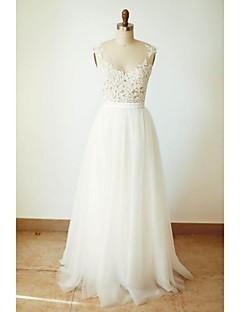 A-라인 웨딩 드레스 바닥 길이 V-넥 튤 와 아플리케 / 버튼 / 허리끈 / 리본