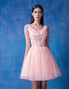 칵테일 파티 / 저녁 정장파티 드레스 - 펄 핑크 볼 드레스 숏/미니 V-넥 레이스 / 명주그물 / 반짝이