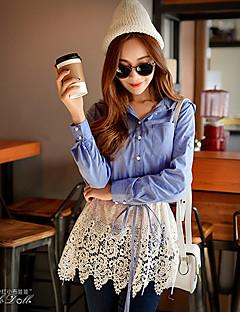 여성의 패치 워크 셔츠 카라 긴 소매 셔츠,심플 캐쥬얼/데일리 블루 면 / 나일론 / 스판덱스 봄 중간