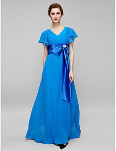 Lanting skjede / kolonne mor til bruden kjole - havblå fotsid kortermet chiffon