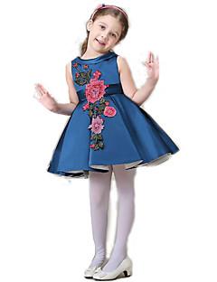 Bloemen -Polyester-Zomer-Girl's-Jurk-Blauw / Wit