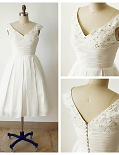 A-line Wedding Dress - Ivory Tea-length V-neck Satin
