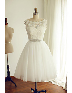 A-line Wedding Dress - Ivory Tea-length Bateau Lace / Tulle