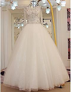 A-라인 웨딩 드레스 바닥 길이 스쿱 튤 와 비즈