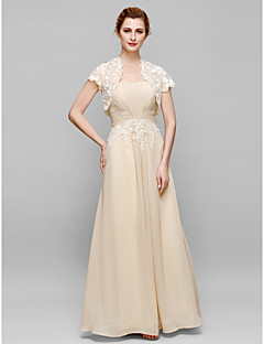 Lanting Bride® Sheath / Column Mother of the Bride Dress Ankle-length Short Sleeve Chiffon / Lace withAppliques / Draping / Lace /