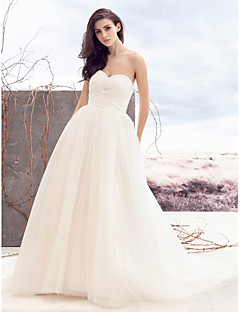 Lanting A-line Wedding Dress - Ivory Court Train Sweetheart Tulle