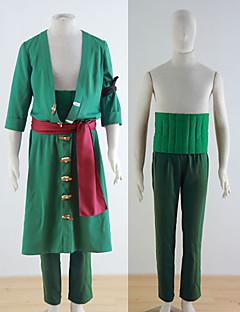 Inspirovaný One Piece Roronoa Zoro Anime Cosplay kostýmy Cosplay šaty Jednobarevné ZielonyKabát Kalhoty Páska na ruku Doplňky k pasu