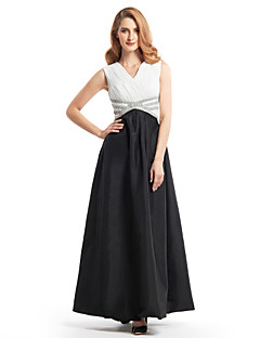 LAN TING BRIDE A-line Mother of the Bride Dress - Color Block Ankle-length Sleeveless Chiffon Taffeta with Beading Criss Cross