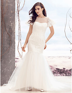 Lanting Bride Fit & Flare Wedding Dress-Sweep/Brush Train Bateau Lace / Tulle