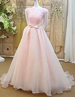 웨딩 드레스 - 블러슁 핑크 A 라인 쿼트 트레인 바토 레이스 / 오르간자
