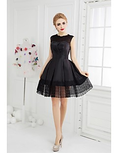 Cocktail Party Dress A-line Jewel Short / Mini Taffeta with Lace / Side Draping
