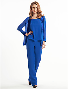 Lanting Sheath/Column Mother of the Bride Dress - Royal Blue Ankle-length Long Sleeve Chiffon / Charmeuse