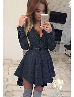 Women's Vintage Polka Dot Bodycon Dress , Shirt Collar Above Knee Nylon
