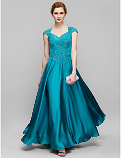 Lanting A-line Mother of the Bride Dress - Jade Ankle-length Short Sleeve Tulle / Charmeuse