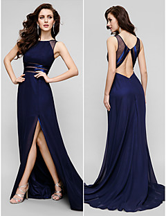 TS Couture® Prom / Formal Evening Dress - Dark Navy Plus Sizes / Petite A-line Jewel Sweep/Brush Train Chiffon