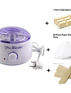 Depilatory Waxing Kit Including 500ML Paraffine Wax Heater Pot & 10 Wooden Spatulas & 50 Removal Strips For Hair Removal