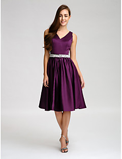 Lanting Knee-length Satin Bridesmaid Dress - Grape A-line V-neck