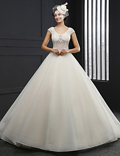 A-line Wedding Dress Chapel Train Jewel Tulle with Appliques