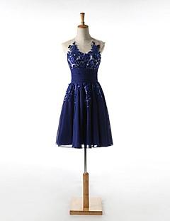 Cocktailfest Dress A-linje Båthals Knelang Chiffon med Appliqué