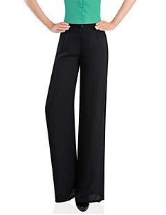 Women's Solid White / Black Wide Leg Pants , Casual / Day / Beach