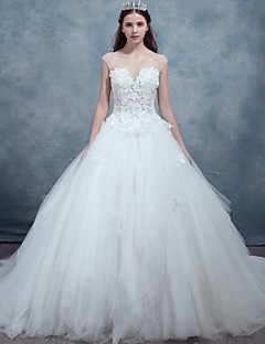 A-line Wedding Dress-Sweep/Brush Train Bateau Lace