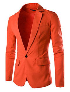 Men's Solid Work Blazer,Cotton Long Sleeve Black / Blue / Orange / Pink / Red / White