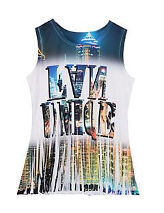 婦人向け カジュアル/普段着 タンクトップ,ストリートファッション ラウンドネック プリント ホワイト ポリエステル ノースリーブ ミディアム
