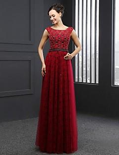 Formal Evening Dress Sheath / Column Jewel Sweep / Brush Train Lace with Beading