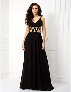 TS Couture® Formal Evening Dress - Black Plus Sizes / Petite Sheath/Column V-neck Floor-length Chiffon