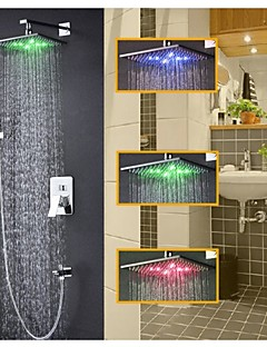 Shower Faucet Contemporary LED / Thermostatic / Rain Shower / Handshower Included Brass Chrome