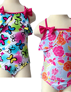 Girl's Green Butterfly / Red Multi-color Swimwear , Floral Polyester / Spandex Summer 1pc Swimsuit
