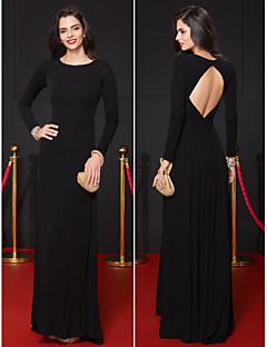 TS Couture Formal Evening Dress - Black Sheath/Column Scoop Floor-length Jersey